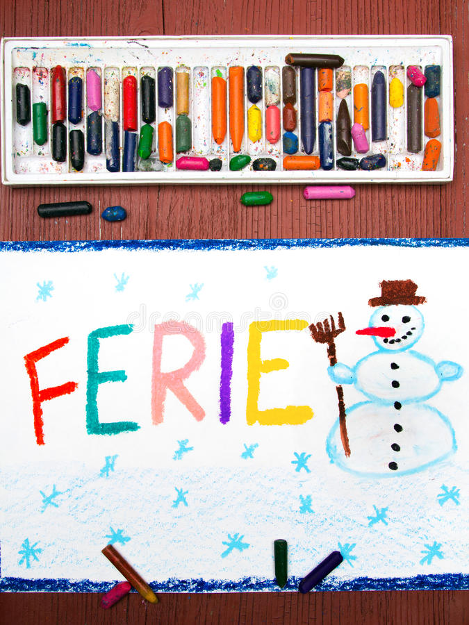 Polish words FERIE significant winter vacations vector illustration