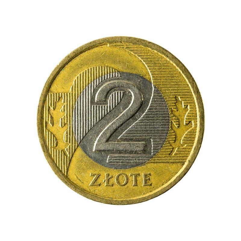 2 polish zloty coin 1995 obverse isolated on white background. Specimen stock image