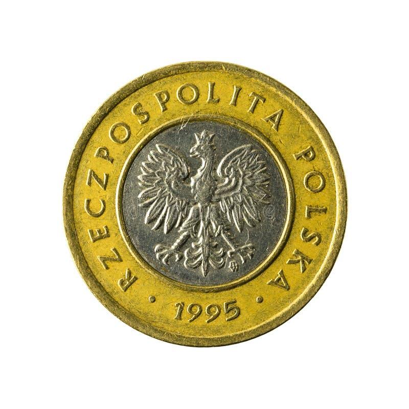 2 polish zloty coin 1995 reverse isolated on white background. Specimen royalty free stock image