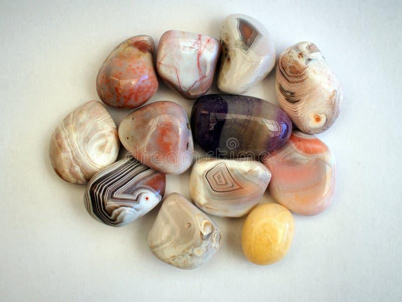 Polished Agates. Polished agate stones from dry Kalahari river bed, Botswana royalty free stock photography