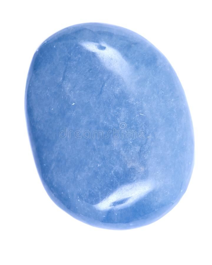 Polished angelite palm stone from Peru royalty free stock images