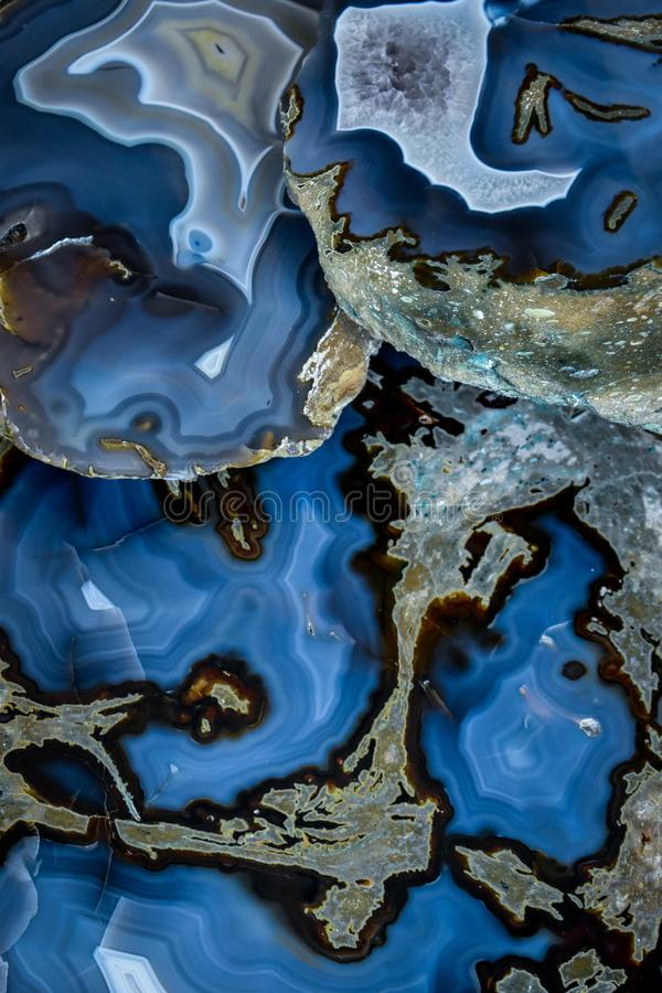 Polished blue agate. To be used as a background stock photography