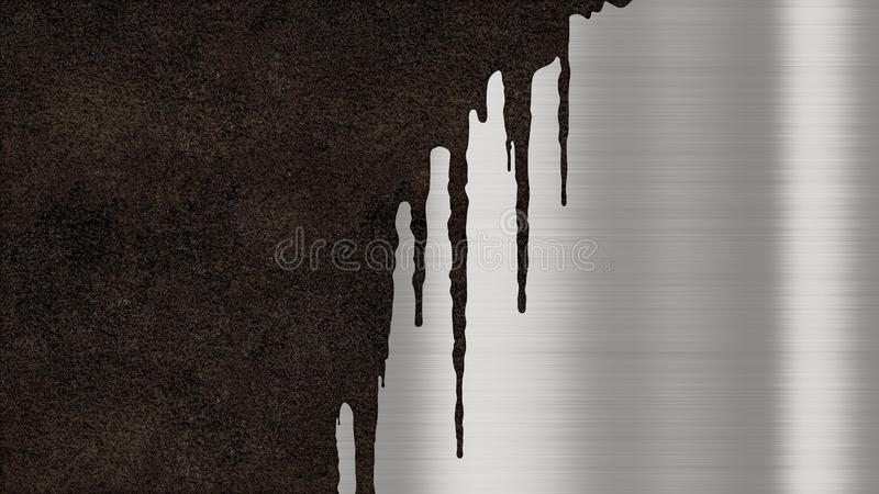 Polished brushed metallic steel plate with traces of rust streaks. Shiny metal background texture with rusty drips of liquid royalty free stock images
