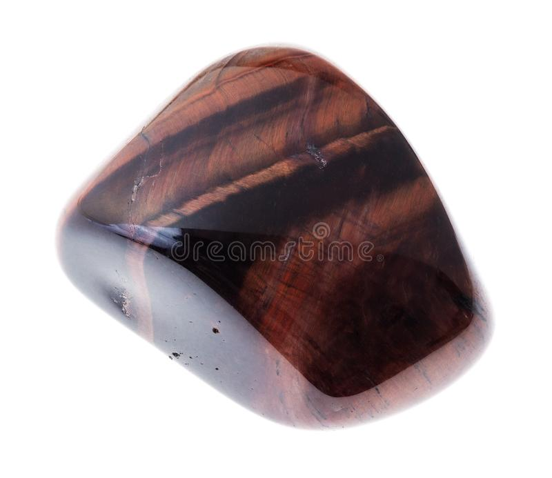 polished bull-eye (ox-eye) gemstone on white stock images