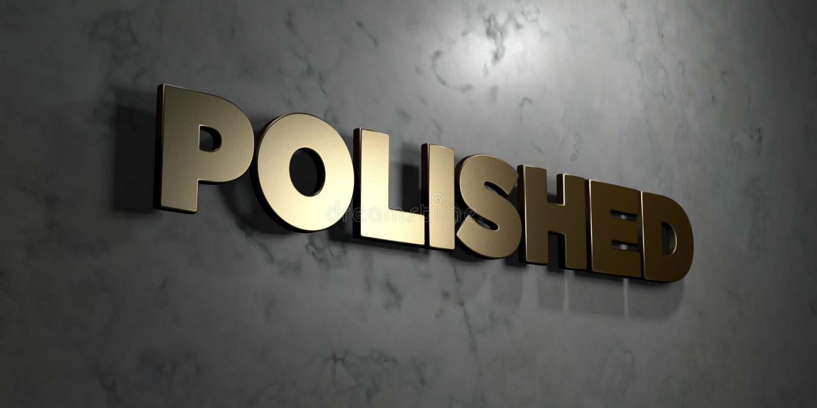 Polished - Gold sign mounted on glossy marble wall - 3D rendered royalty free stock illustration vector illustration