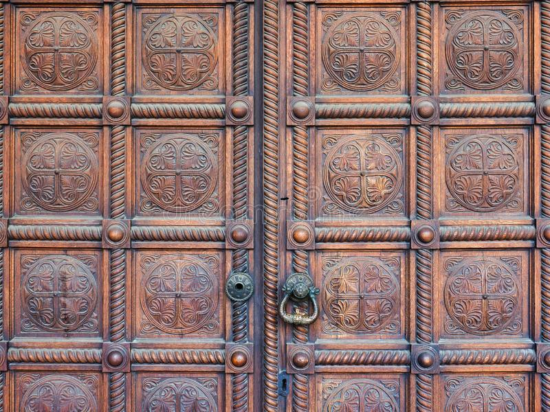 Polished Heavy Wooden Church Doors, Alexander Nevsky Cathedral, Sofia, Bulgaria. Polished heavy wooden main doors to the historic Alexander Nevsky Bulgarian royalty free stock images