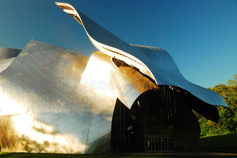 Bard College, Fisher Performing Arts Center. The polished metal and curving façade of the Fisher Performing Arts Center are signatures of architect Franck stock photo