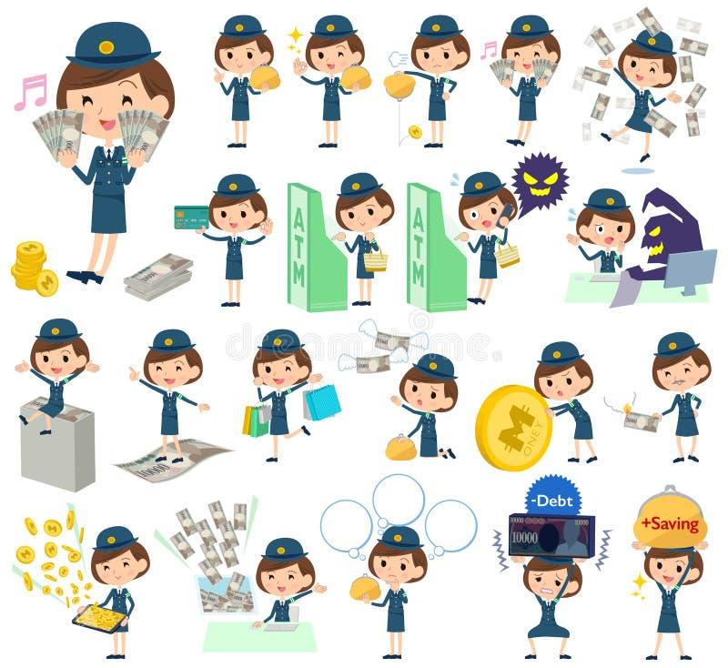 Poliskvinnapengar stock illustrationer