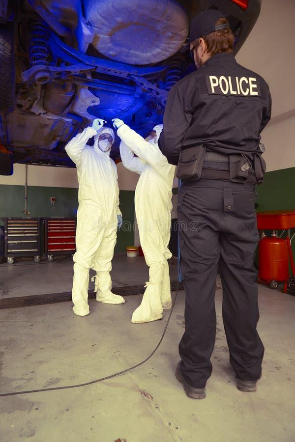 Polislaget som arbetar i ultraviolett ljus på att samla av, spårar och bevisar arkivbilder
