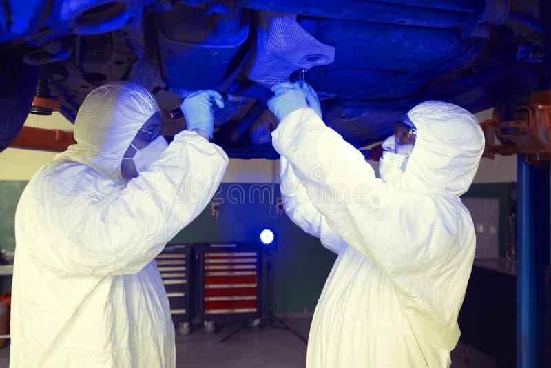 Polislaget som arbetar i ultraviolett ljus på att samla av, spårar och bevisar arkivfoton
