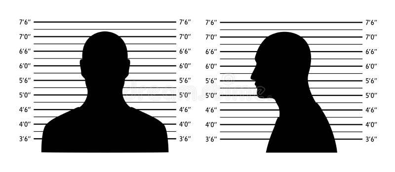 Polislineup Mugshotbakgrund med konturmän Svart kontur p? vit bakgrund vektor illustrationer