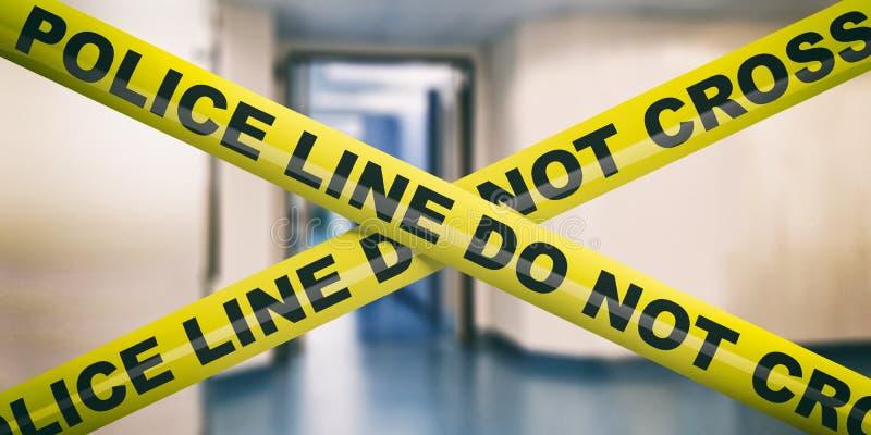 Polislinje Det varnande gula bandet, text korsar inte, g?r suddig kontorsbakgrund illustration 3d royaltyfri illustrationer