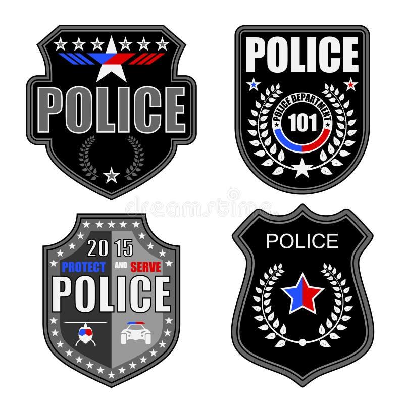 Polislogoer royaltyfri illustrationer
