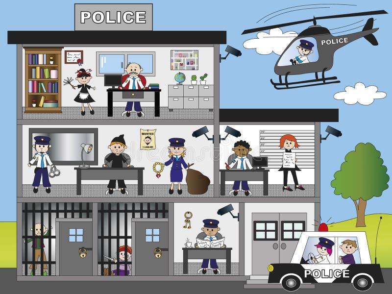 Polisstation vektor illustrationer