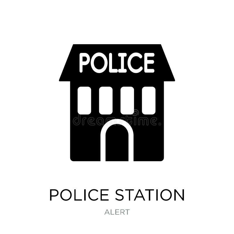 polisstationsymbol i moderiktig designstil polisstationsymbol som isoleras på vit bakgrund enkel polisstationvektorsymbol stock illustrationer