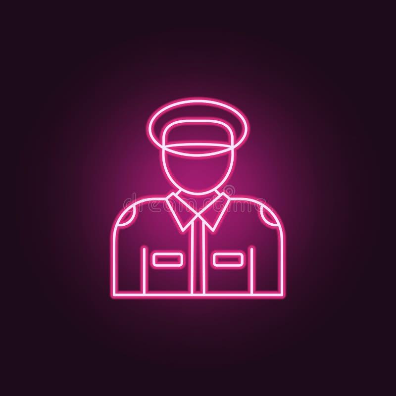Polissymbol Beståndsdelar av brotts- utredning i neonstilsymboler Enkel symbol för websites, rengöringsdukdesign, mobil app, info royaltyfri illustrationer