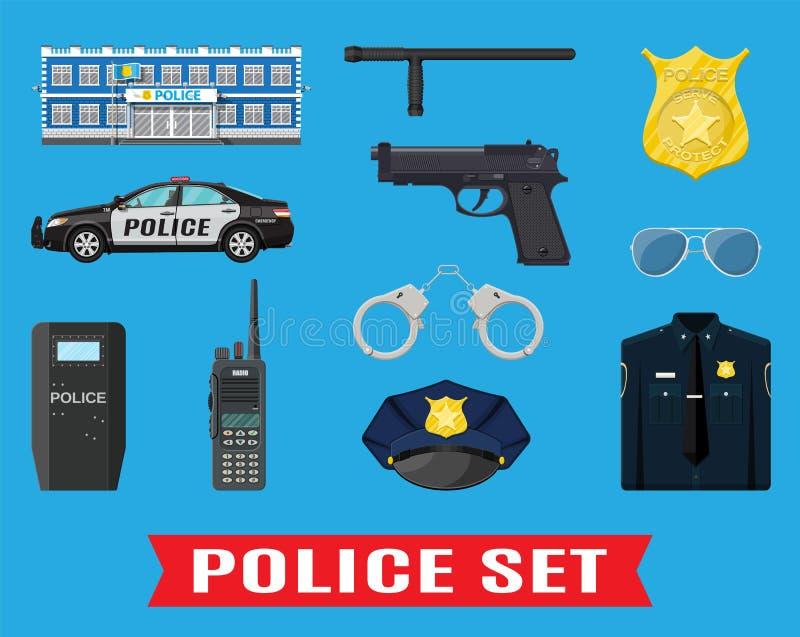 Polisutrustninguppsättning stock illustrationer