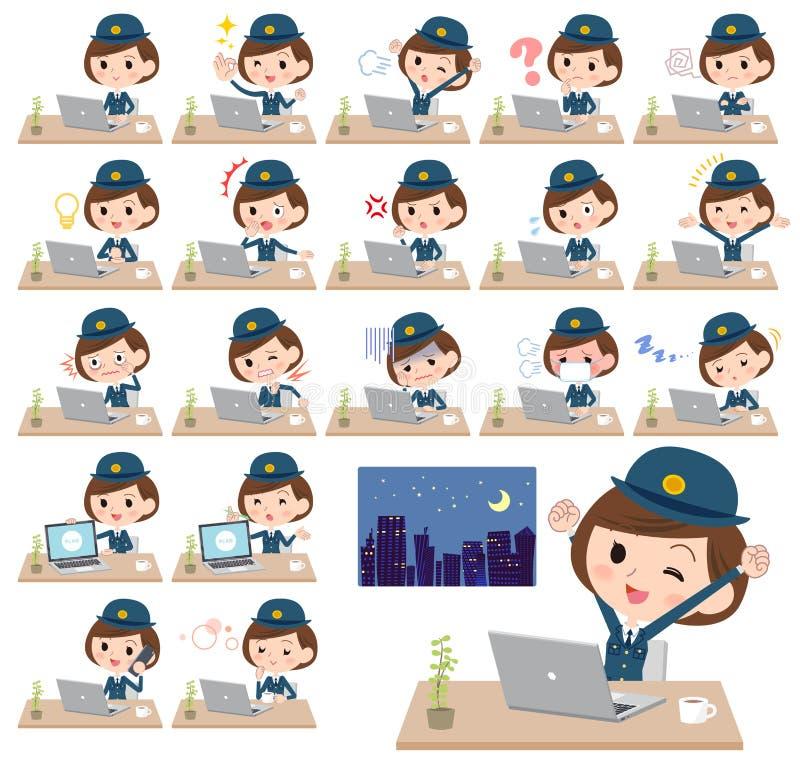 PolisWomen_desk arbete vektor illustrationer