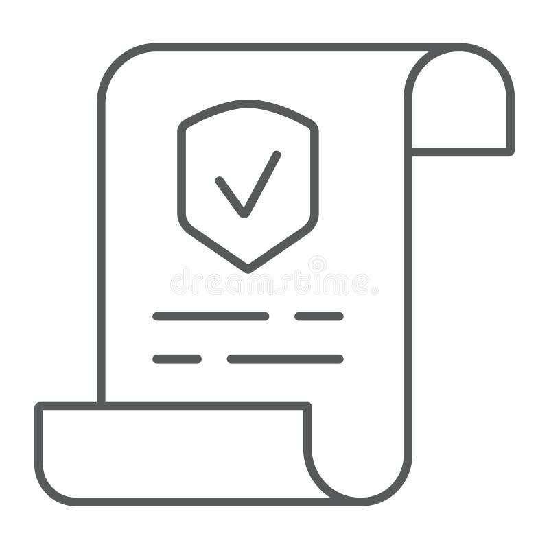 Polisy cienka kreskowa ikona, dokument i kontrakt, ubezpieczenie papieru znak, wektorowe grafika, liniowy wzór na bielu royalty ilustracja