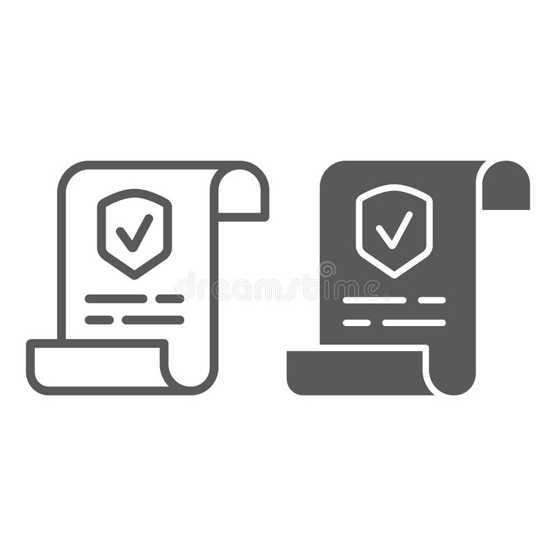 Polisy linia, glif ikona, dokument i kontrakt, ubezpieczenie papieru znak, wektorowe grafika, liniowy wzór na bielu ilustracji