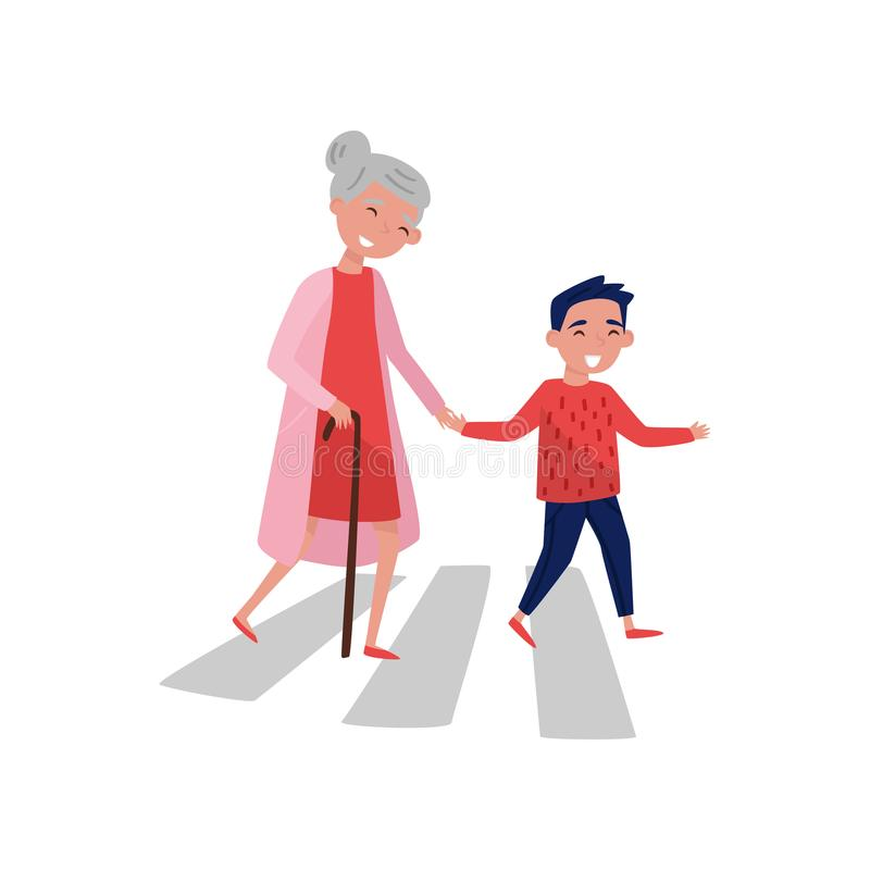Polite boy helps elderly woman to cross the road. Cheerful school kid and old lady. Child with good manners. Flat vector. Polite boy helps elderly woman to cross stock illustration