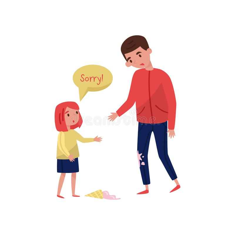 Polite little girl apologizing to young guy for soiled jeans, ice-cream laying on the floor. Child with good manners. Cartoon people characters. Colorful flat royalty free illustration