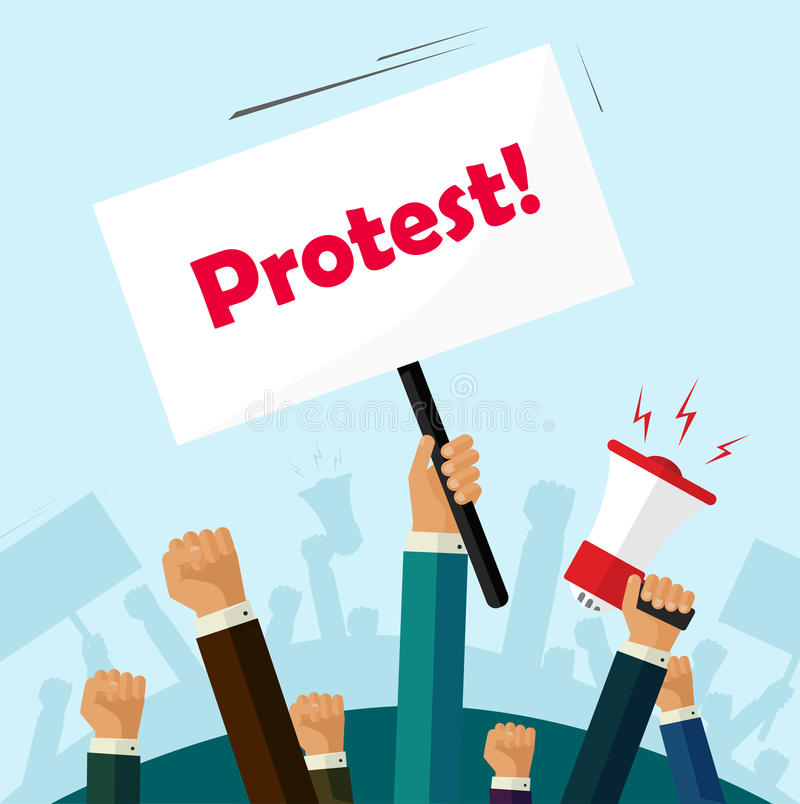 Politic protest signs crowd of people protesters revolution placard cartoon stock illustration