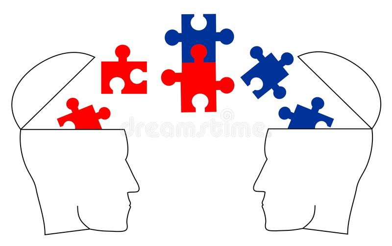 Political. Two different ideologies dialogue and reaching agreement royalty free illustration