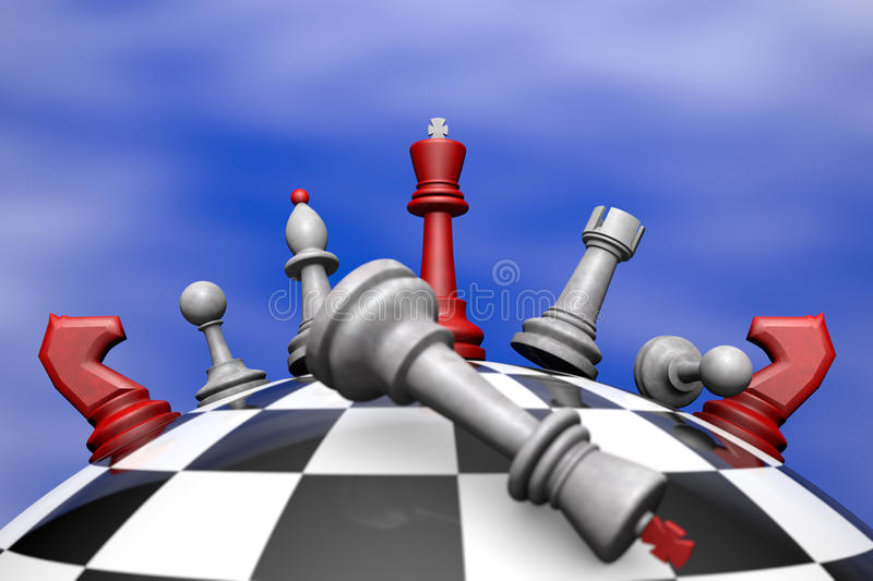 Political aggression. Symbolic frame (political upheaval). Chess on the chess globe. 3D image stock illustration