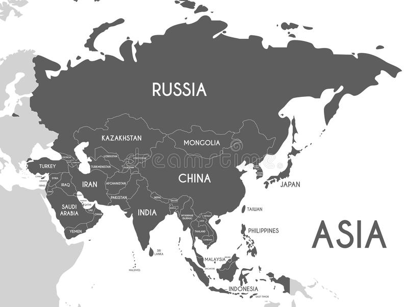 Political Asia Map Vector Illustration Isolated On White - Asia map labeled