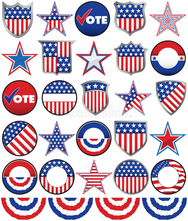Political Badges royalty free illustration