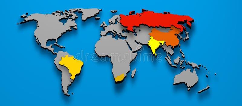 Political BRICS Brazil China Russia India Africa. 3D illustration political map of BRICS Brazil China Russia India South AFrica