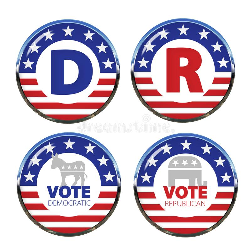 Free Political Buttons Both Parties Royalty Free Stock Photos - 119503908