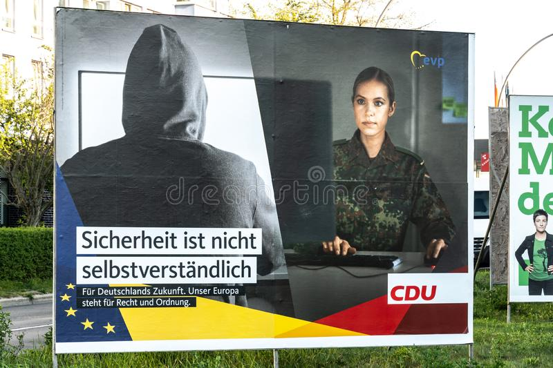 Political campaign poster of CDU, German political party royalty free stock images