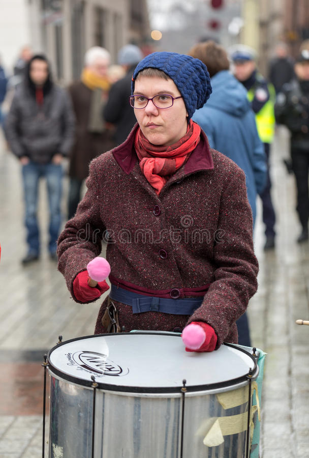 The political demonstration of anarchists on the Main Square in Cracow. stock photography