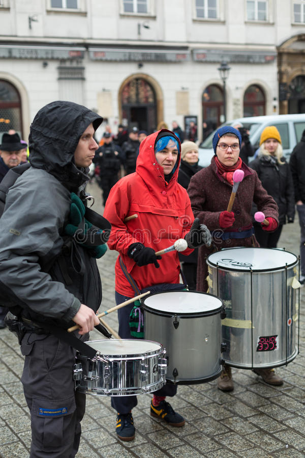 The political demonstration of anarchists on the Main Square in Cracow. stock image