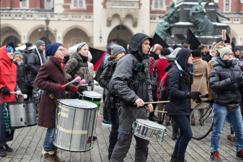 The political demonstration of anarchists on the Main Square in Cracow. Poland royalty free stock photography