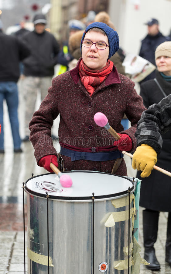 The political demonstration of anarchists on the Main Square in Cracow. Poland stock image