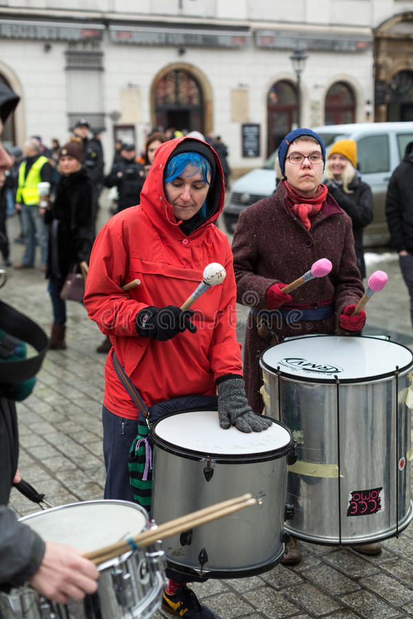 The political demonstration of anarchists on the Main Square in Cracow. Poland stock photo