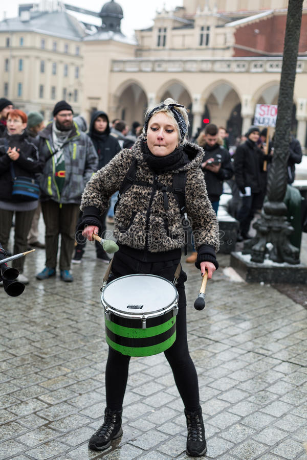The political demonstration of anarchists on the Main Square in Cracow. stock images