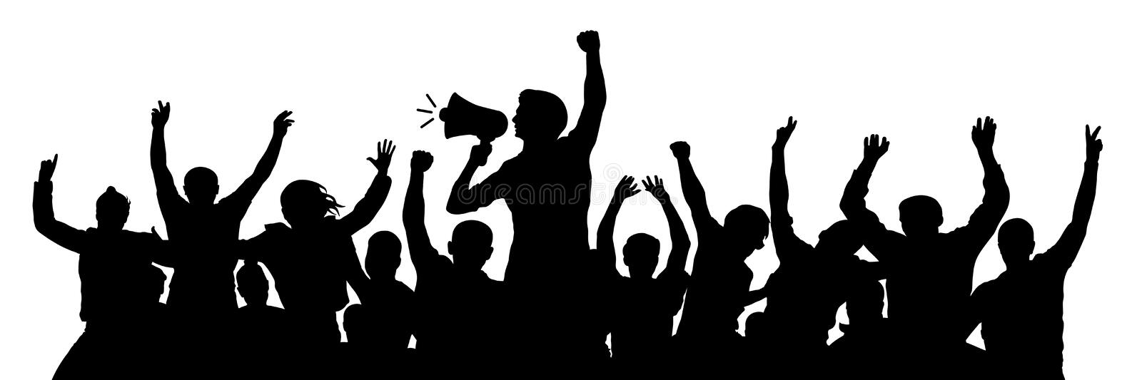 Political demonstration. Cheerful party man with speaker. Protest angry youth crowd. Riot silhouette vector.  royalty free illustration