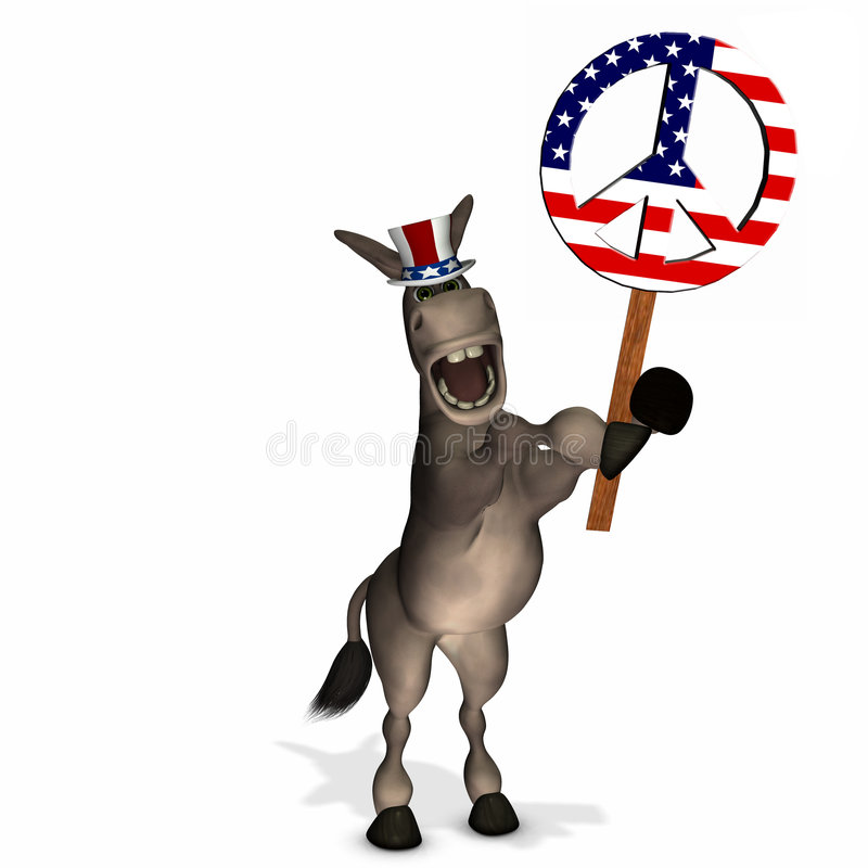 Free Political Donkey With Peace Sign Stock Images - 4742174