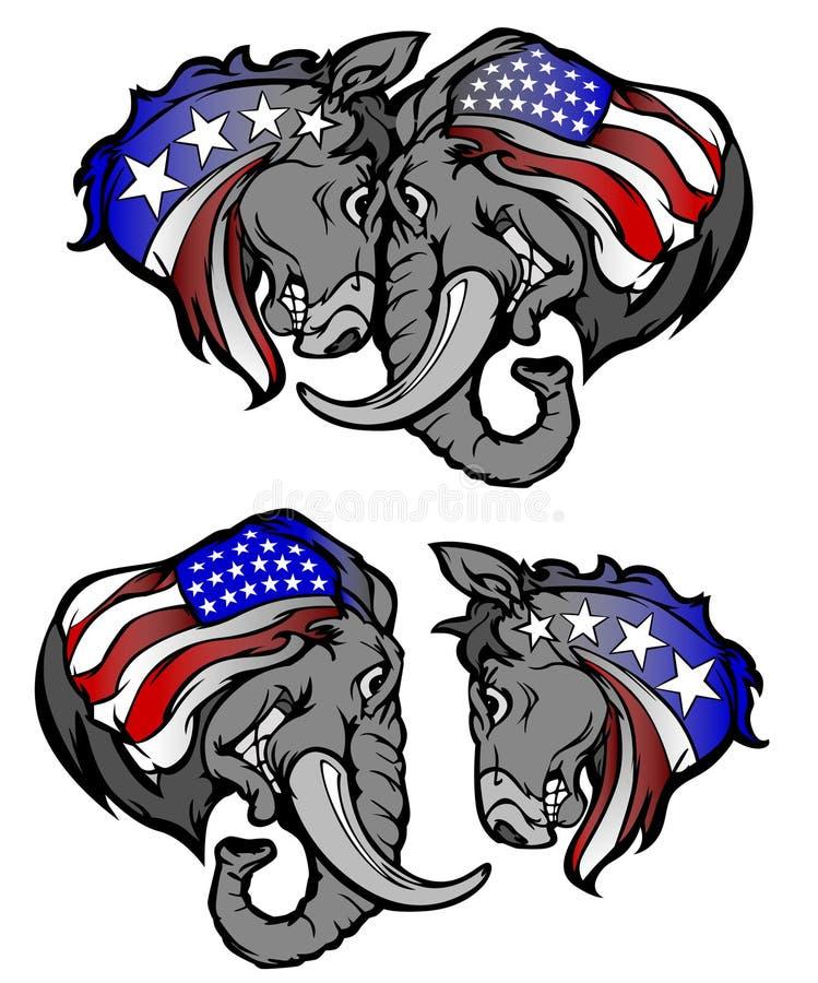 Political Elephant Republican vs Donkey Democrat vector illustration