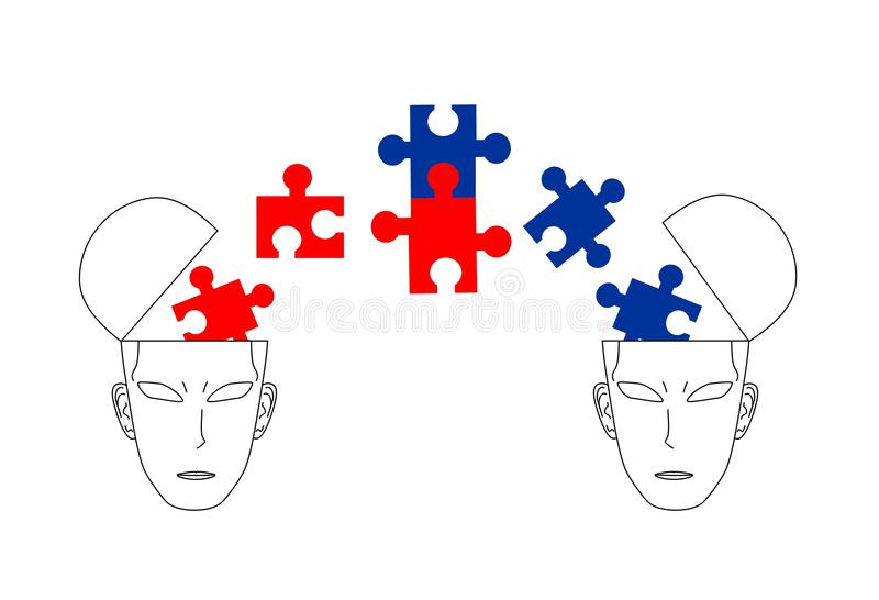 Political ideas. Two different ideologies dialogue and reaching agreement stock illustration