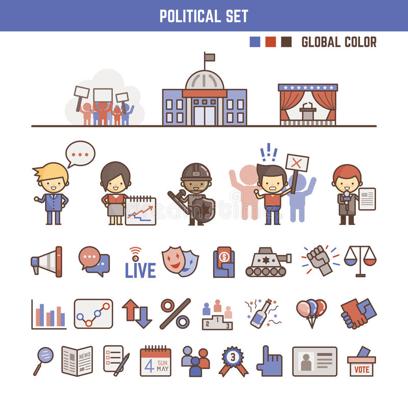Political infographic elements for kids vector illustration