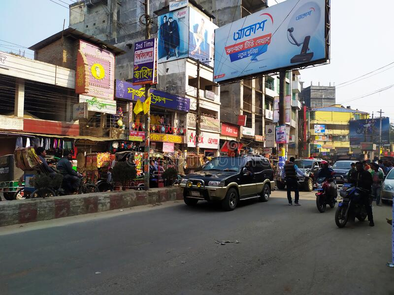 Political leader. Mayor of Rangpur City with his Government Car. City Street with A lots of people.Administration of Bangladesh at. Rangpur city royalty free stock photography