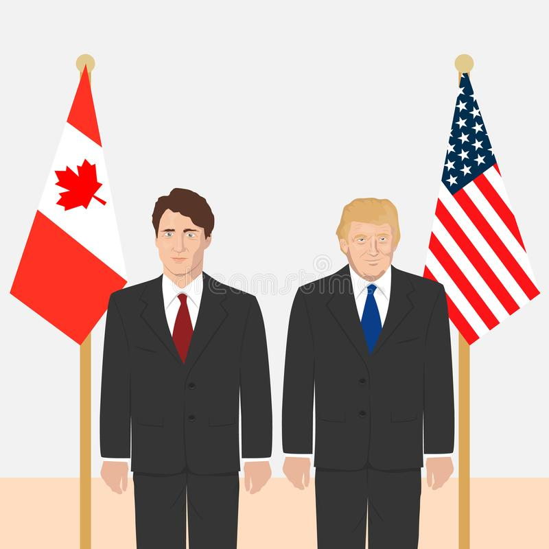 Political leaders theme. 03.12.2017 Editorial illustration of the Canadian Prime Minister Justin Trudeau and the USA President Donald Trump on countries flags
