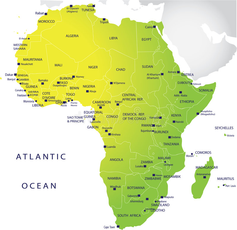 Political map of Africa stock illustration