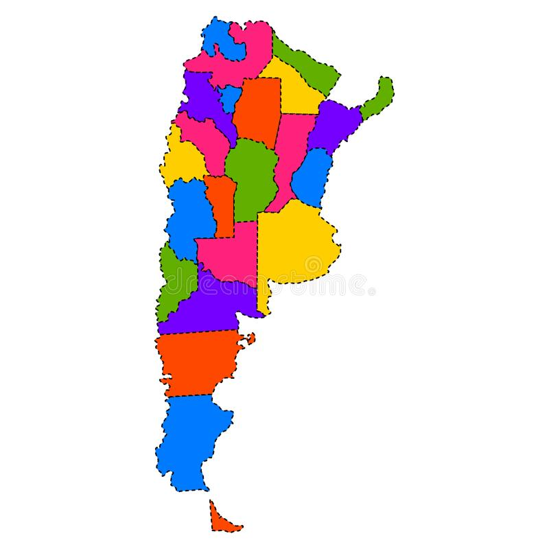 Political map of Argentina stock illustration Illustration of
