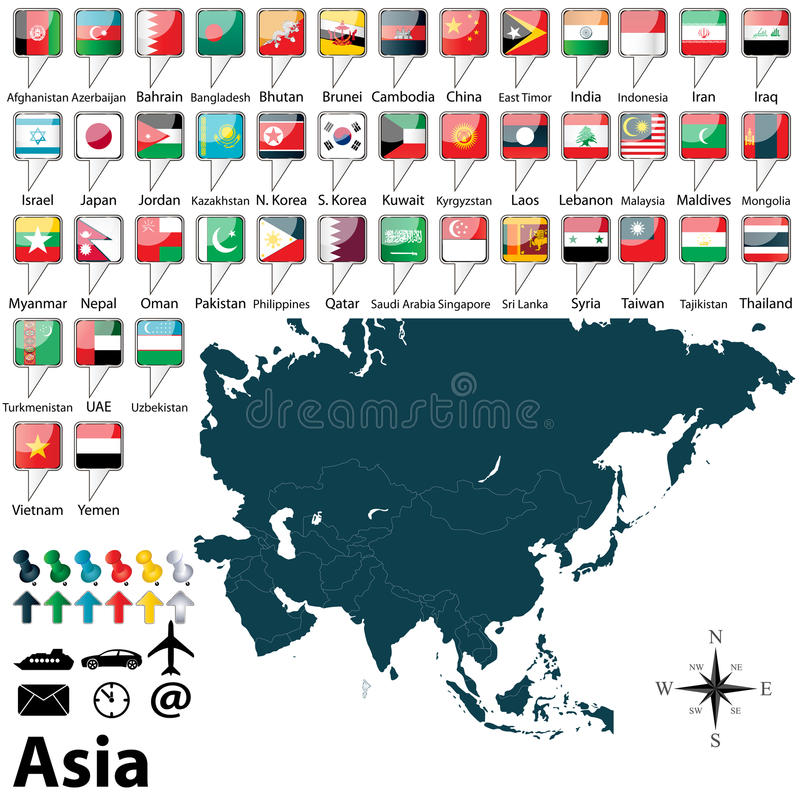 Political map of Asia. Vector of political map of Asia set with buttons flags on white background stock illustration